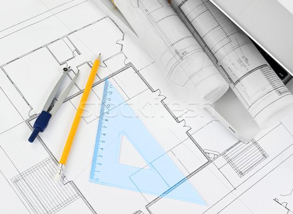 Stock fotó: Tervrajzok · projekt · irodaszerek · copy · space · ház · terv
