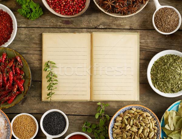 スパイス ノートブック 変動 周りに 紙 シード ストックフォト © goir