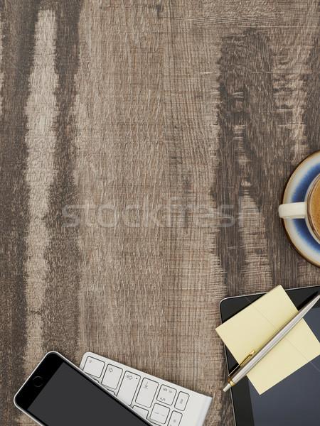 Acima ver mesa de escritório diretamente trabalhando tabela Foto stock © goir