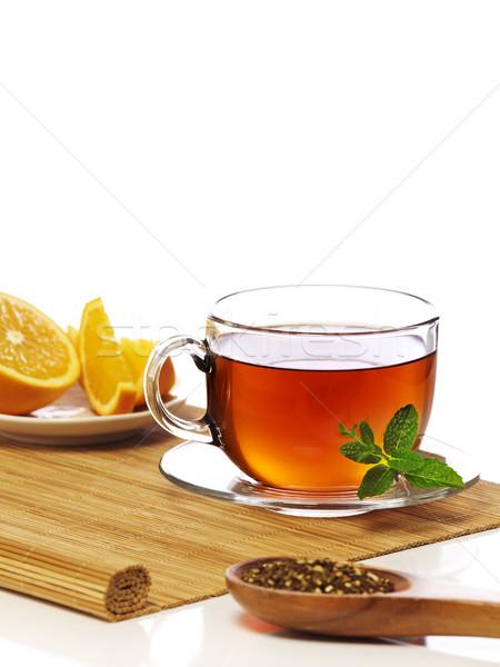 оранжевый Ломтики Кубок чай лист Сток-фото © goir