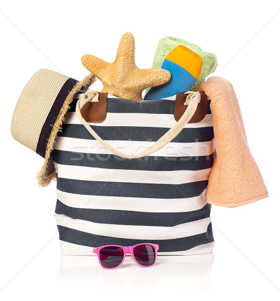 Zomer zak zonnebril zeester strohoed geïsoleerd Stockfoto © goir