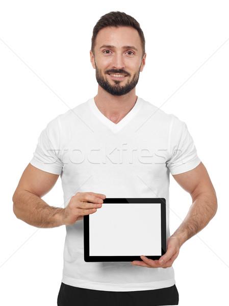 男 デジタル タブレット 白 ストックフォト © goir