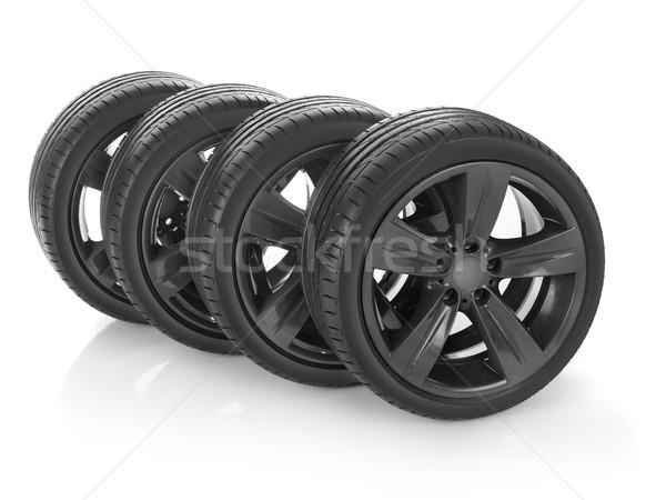 Nouvelle pneus voiture isolé blanche sport Photo stock © goir