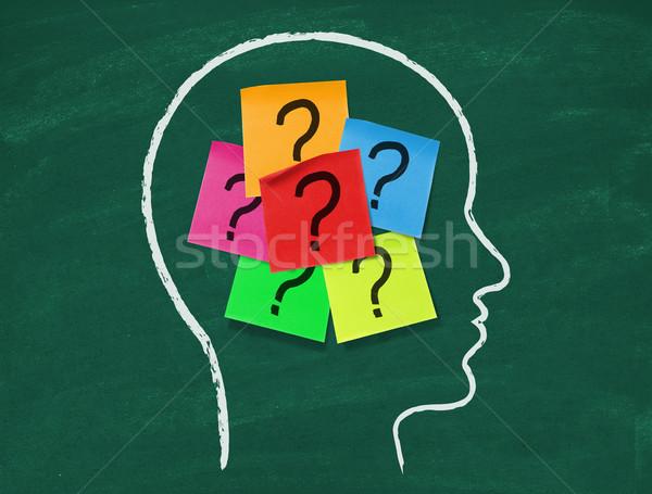 Zelfklevend merkt vraagtekens Blackboard leren onderwijs Stockfoto © goir