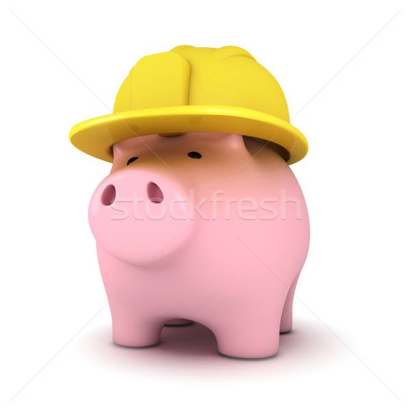 Piggy bank with hardhat Stock photo © goir
