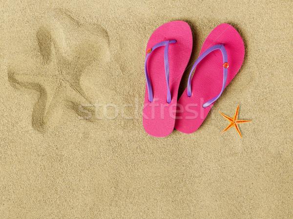 Terlik plaj bo kum yaz seyahat Stok fotoğraf © goir