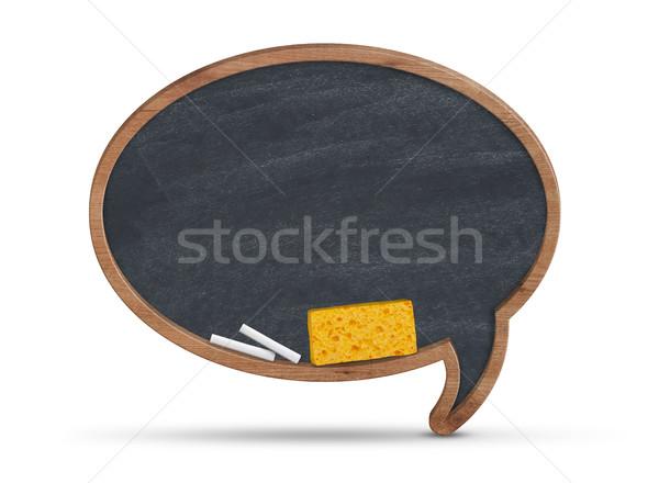 Tekstballon Blackboard geïsoleerd witte onderwijs communicatie Stockfoto © goir