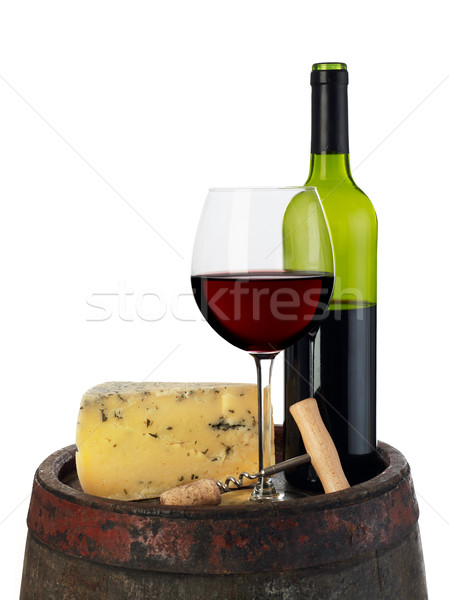 Vin fromages baril isolé blanche boire Photo stock © goir