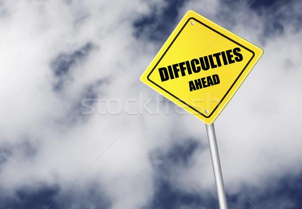 Dificultades adelante signo cielo carretera nube Foto stock © goir