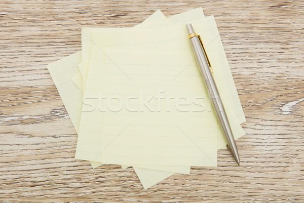 Foto stock: Adhesivo · notas · madera · papel · vacío