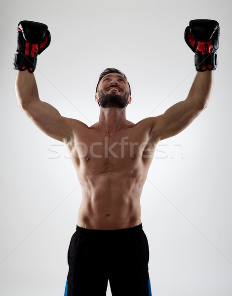 Boxeur torse nu musculaire succès souriant boxe Photo stock © goir