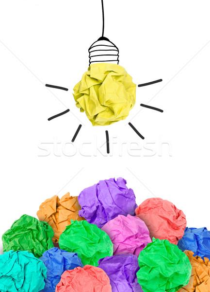 выбирать лучший Идея бумаги мяча лампочка Сток-фото © goir