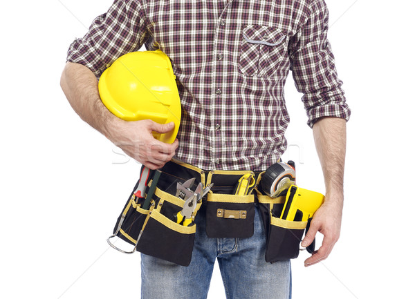 Carpinteiro ferramenta cinto capacete de segurança Foto stock © goir