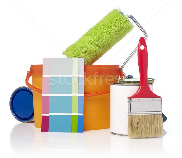 Peinture outils still life isolé blanche couleurs Photo stock © goir