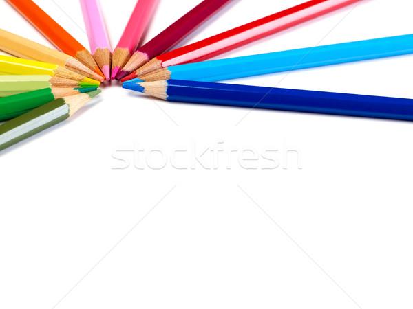 Ceruzák tarka fehér fa ceruza oktatás Stock fotó © goir