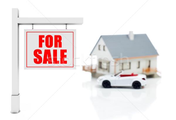 Huis verkoop model auto teken geïsoleerd Stockfoto © goir