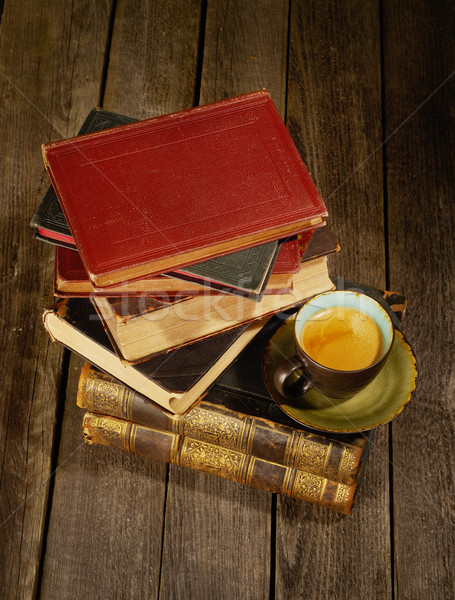 Antique books and coffee Stock photo © goir