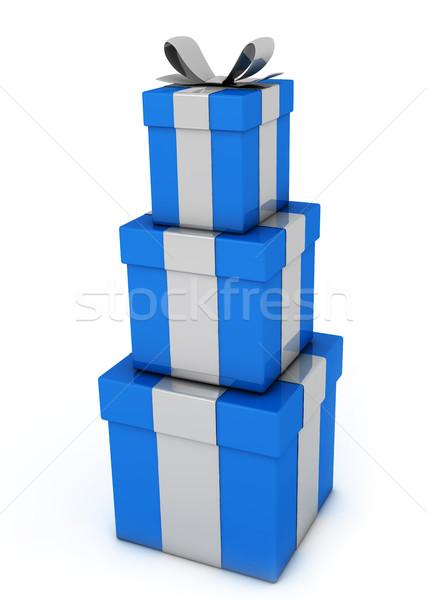 青 ギフトボックス 孤立した 白 パッケージ ラベル ストックフォト © goir