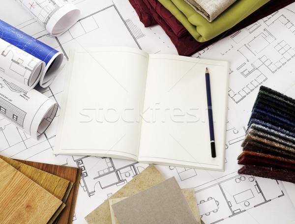 открытых блокнот чертежи древесины материальных Сток-фото © goir