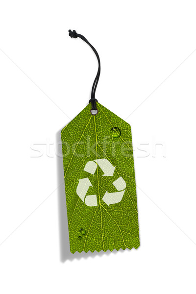 Photo stock: Recycler · tag · isolé · blanche · papier · feuille