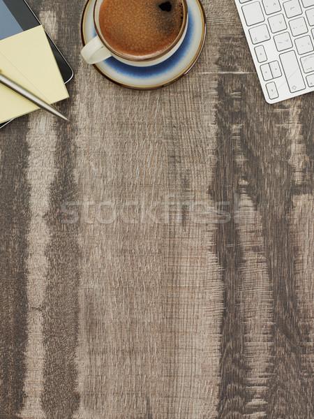 Werken tabel rechtstreeks boven exemplaar ruimte Stockfoto © goir