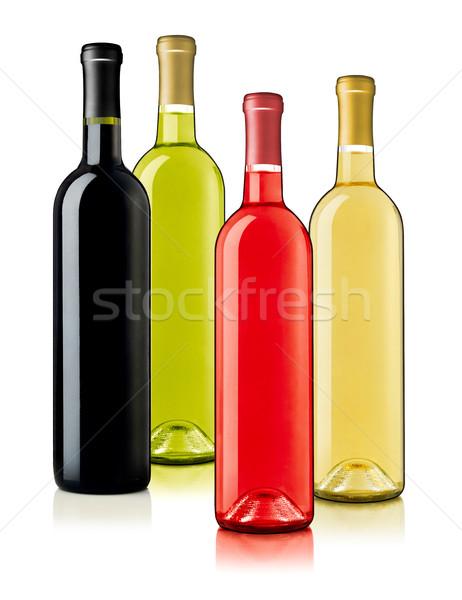 Vin bouteilles Rose Red vert bouteille de vin blanc blanche Photo stock © goir
