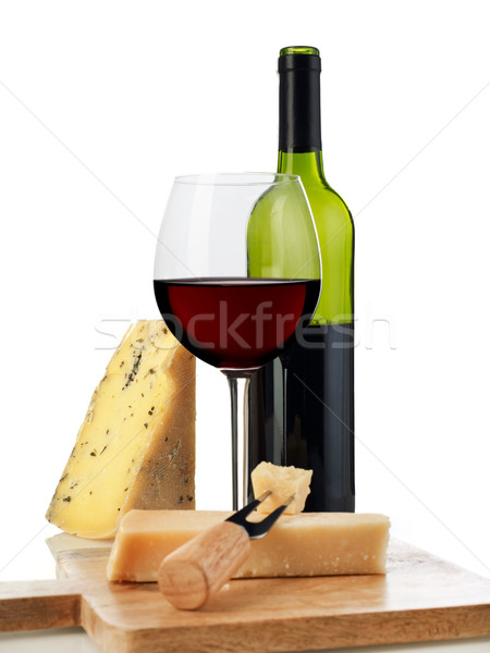 Vin fromages vin rouge isolé blanche alimentaire Photo stock © goir