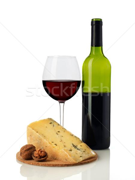 赤ワイン チーズ ワイン 孤立した 白 食品 ストックフォト © goir