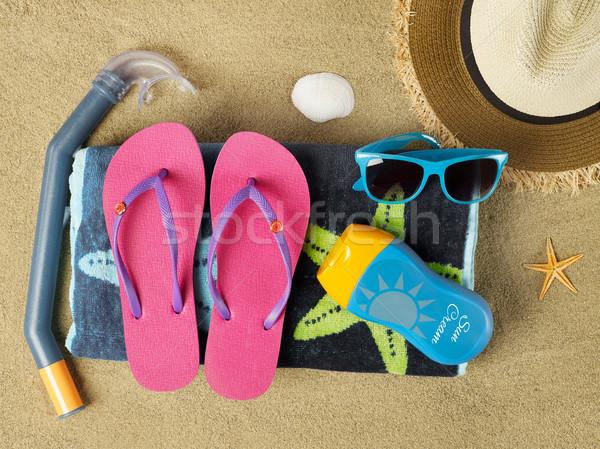 Nyár idő tengerpart kellékek homok utazás Stock fotó © goir