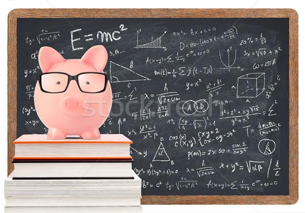 Spaarvarken wiskunde Blackboard geïsoleerd witte onderwijs Stockfoto © goir