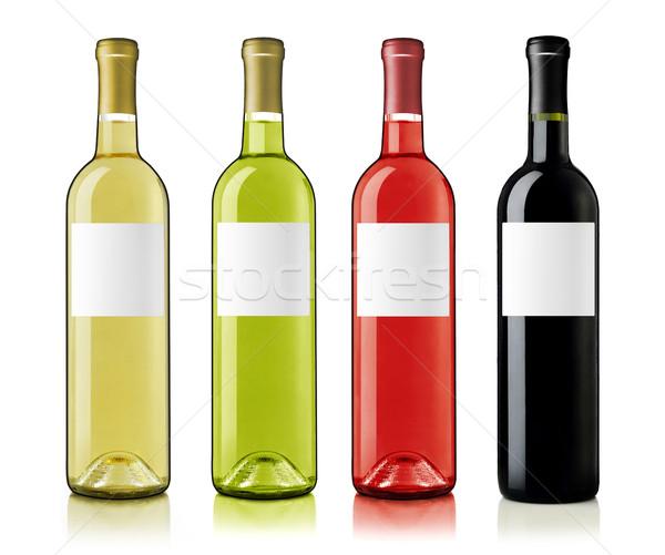 Vinho garrafas rosa vermelha verde garrafa de vinho branco Foto stock © goir