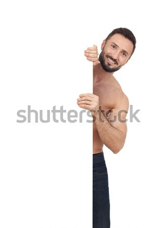Shirtless man with blank sign Stock photo © goir
