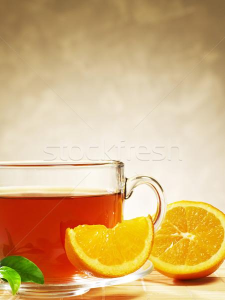 Teáscsésze narancs szeletek ital folyadék bögre Stock fotó © goir