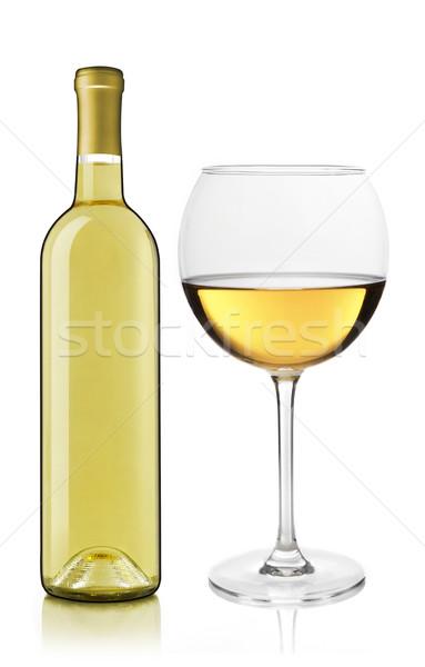 Wijnfles glas witte wijn fles witte wijn drinken Stockfoto © goir