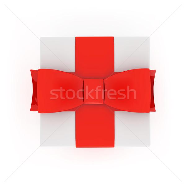 Photo stock: Coffret · cadeau · au-dessus · isolé · blanche · anniversaire · rouge