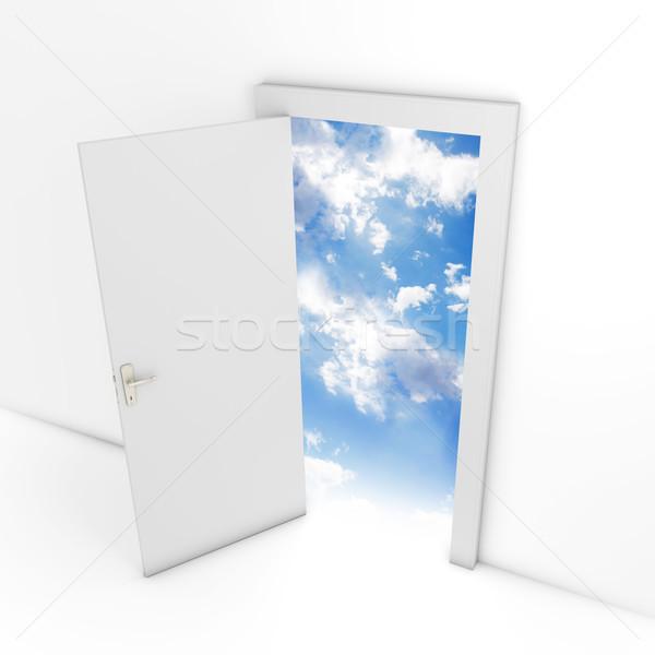 Otwartych drzwi niebo biały drzwi odizolowany Zdjęcia stock © goir