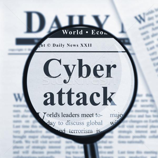 Angreifen Lupe Schlagzeile Sicherheit Kommunikation Daten Stock foto © goir