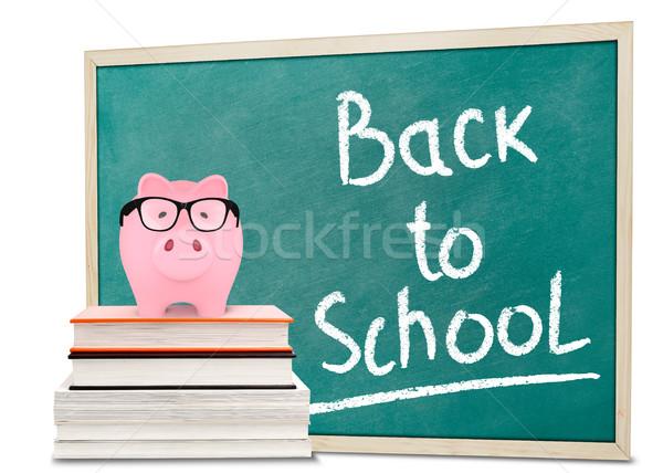 Vissza az iskolába üzenet persely iskolatábla oktatás tanár Stock fotó © goir