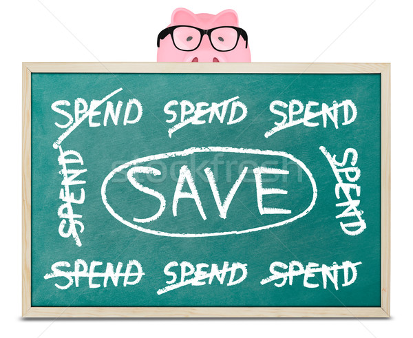 Piggy bank and save message on blackboard Stock photo © goir