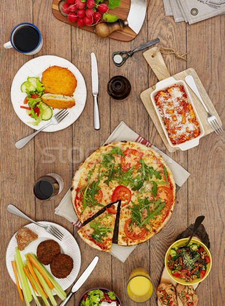 View from above the table of dishes Stock photo © goir
