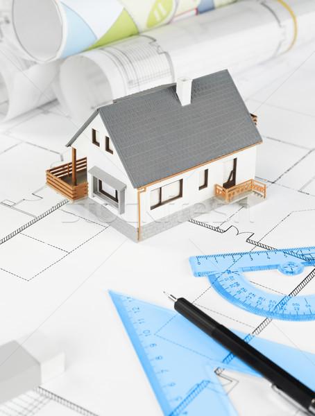 Stock fotó: Lakóövezeti · struktúra · tervrajzok · ház · terv · ipar