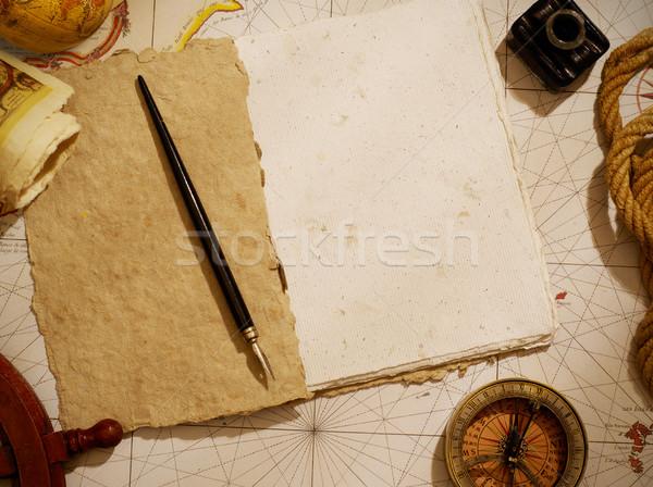 Portable équipement marines vieille carte papier Photo stock © goir