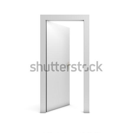 Open deur geïsoleerd witte deur vrijheid witte achtergrond Stockfoto © goir