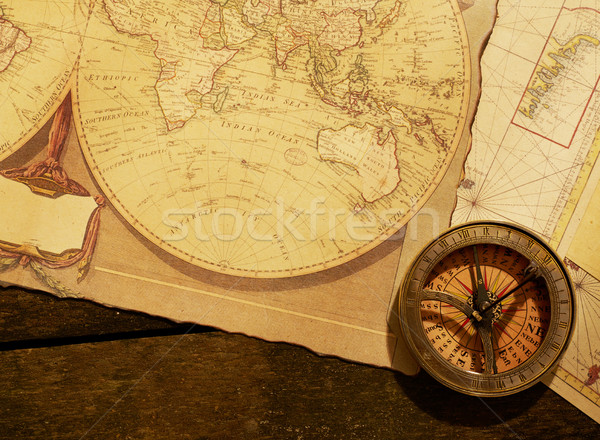 Compass on old map Stock photo © goir