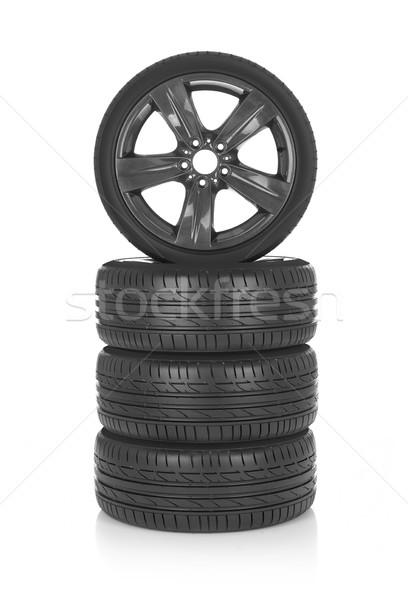 Zdjęcia stock: Sportu · opony · samochodu · odizolowany · biały · metal