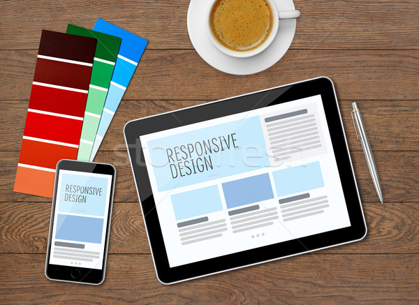 Responsive design on mobile devices Stock photo © goir