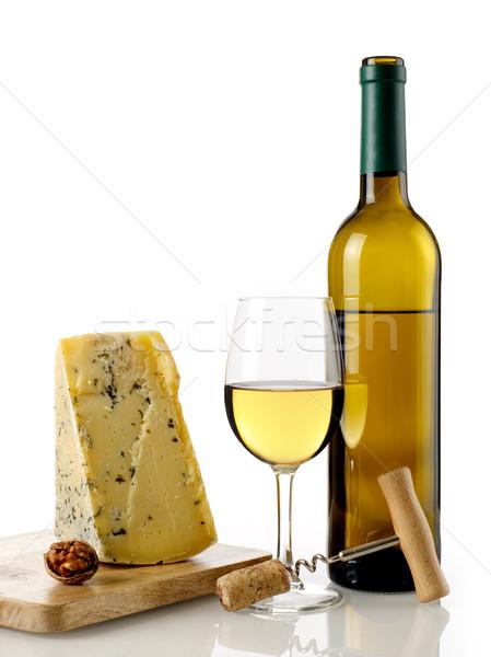 Witte wijn kaas geïsoleerd witte drinken wijnfles Stockfoto © goir