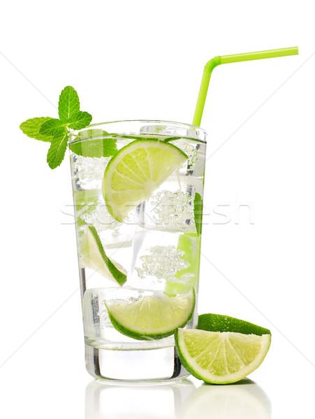 Mojito cocktail kalk mint geïsoleerd witte Stockfoto © goir