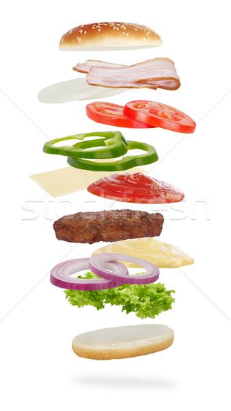 Burger ingrédients isolé blanche viande salade Photo stock © goir