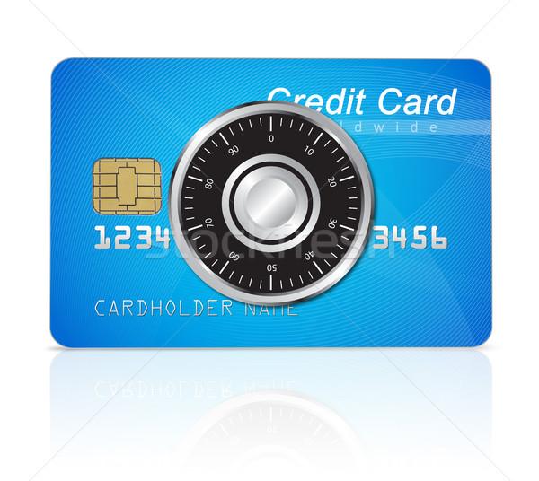 Hitelkártya biztonság izolált fehér pénzügy adat Stock fotó © goir
